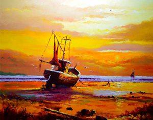 tela um barco na praia